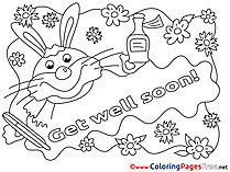 Rabbit Get well soon Coloring Sheets