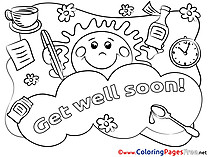 Sun Colouring Sheet Get well soon