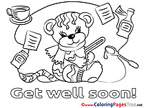 Tiger Get well soon Coloring Pages free