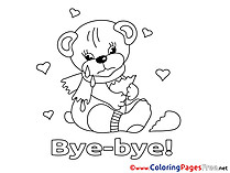 Bear Good bye free Coloring Pages