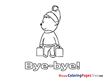 Bear Kids Good bye Coloring Page