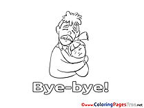Girl Good bye Coloring Pages download