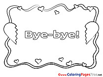 Hearts Coloring Pages Good bye for free