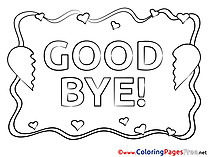 Hearts Kids Good bye Coloring Pages