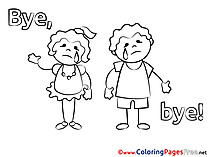 Kids Good bye Coloring Pages free