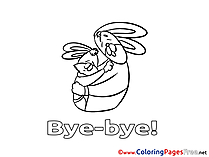 Rabbit Coloring Sheets Good bye free