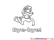 Rabbit Good bye Coloring Pages free