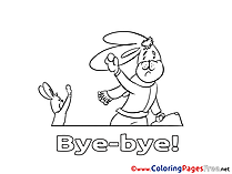 Rabbit Kids Good bye Coloring Pages