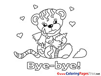 Tiger printable Good bye Coloring Sheets