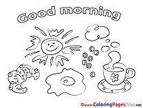 Coffee Good Morning Coloring Pages free