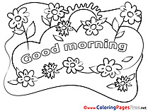 Flowers Kids Good Morning Coloring Pages
