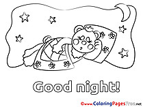 Bear Kids Good Night Coloring Page