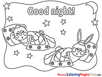 Bunny Good Night free Coloring Pages