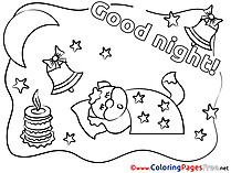 Candle Kids Good Night Coloring Pages