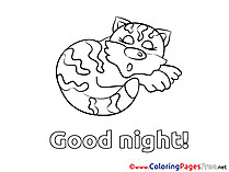 Cat Kids Good Night Coloring Page