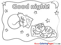 Drawing Cats printable Coloring Pages Good Night