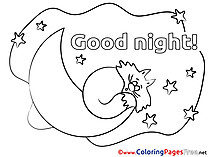 Image Cat Coloring Sheets Good Night free