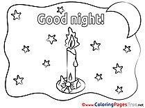 Picture Candle Good Night Coloring Pages download