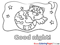 Picture Cat Kids Good Night Coloring Page
