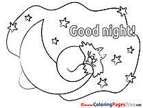 Pictute Moon Colouring Page Good Night free