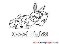 Rabbit Colouring Page Good Night free