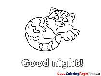 Tiger Good Night Colouring Sheet free