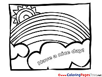 Rainbow printable Have a nice Day Coloring Sheets