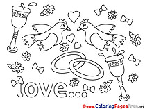 Pigeons printable Coloring Pages Love