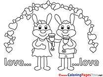 Rabbits Wedding Coloring Pages Love for free
