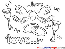 Rings Colouring Page Love free