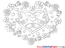 Rings Love Colouring Sheet free