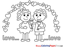 Wedding free Colouring Page Love