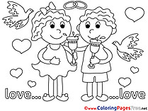 Wedding Love free Coloring Pages