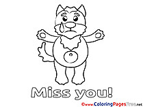 Animal printable Miss you Coloring Sheets