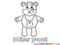 Bear Miss you Colouring Sheet free