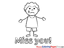 Boy Kids Miss you Coloring Page