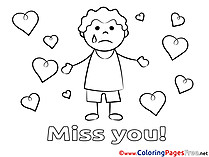 Boy Kids Miss you Coloring Pages