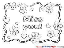 Flowers Miss you free Coloring Pages
