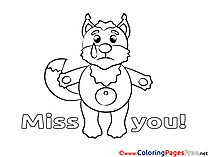 Fox Children Miss you Colouring Page