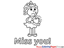 Girl Coloring Sheets Miss you free