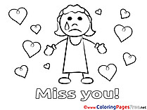 Girl Colouring Sheet download Miss you