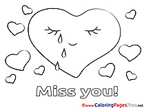 Hearts Coloring Pages Miss you for free