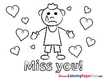 Hearts Colouring Page Miss you free