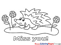 Hedgehog Miss you Coloring Pages download