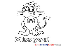 Lion free Miss you Coloring Sheets