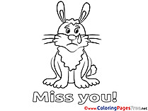 Rabbit for Kids Miss you Colouring Page