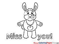 Rabbit printable Coloring Pages Miss you