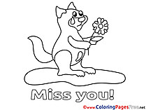 Squirrel download Miss you Coloring Pages