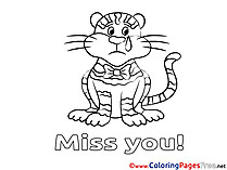 Tiger Miss you free Coloring Pages