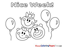 Balloons Nice Week free Coloring Pages
